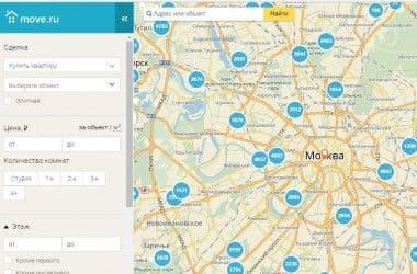 На портале Move.ru обновился поиск недвижимости по карте